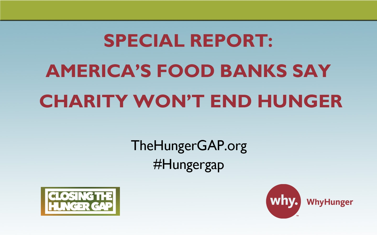 Special Report: America's Food Banks Say Charity Won't End Hunger