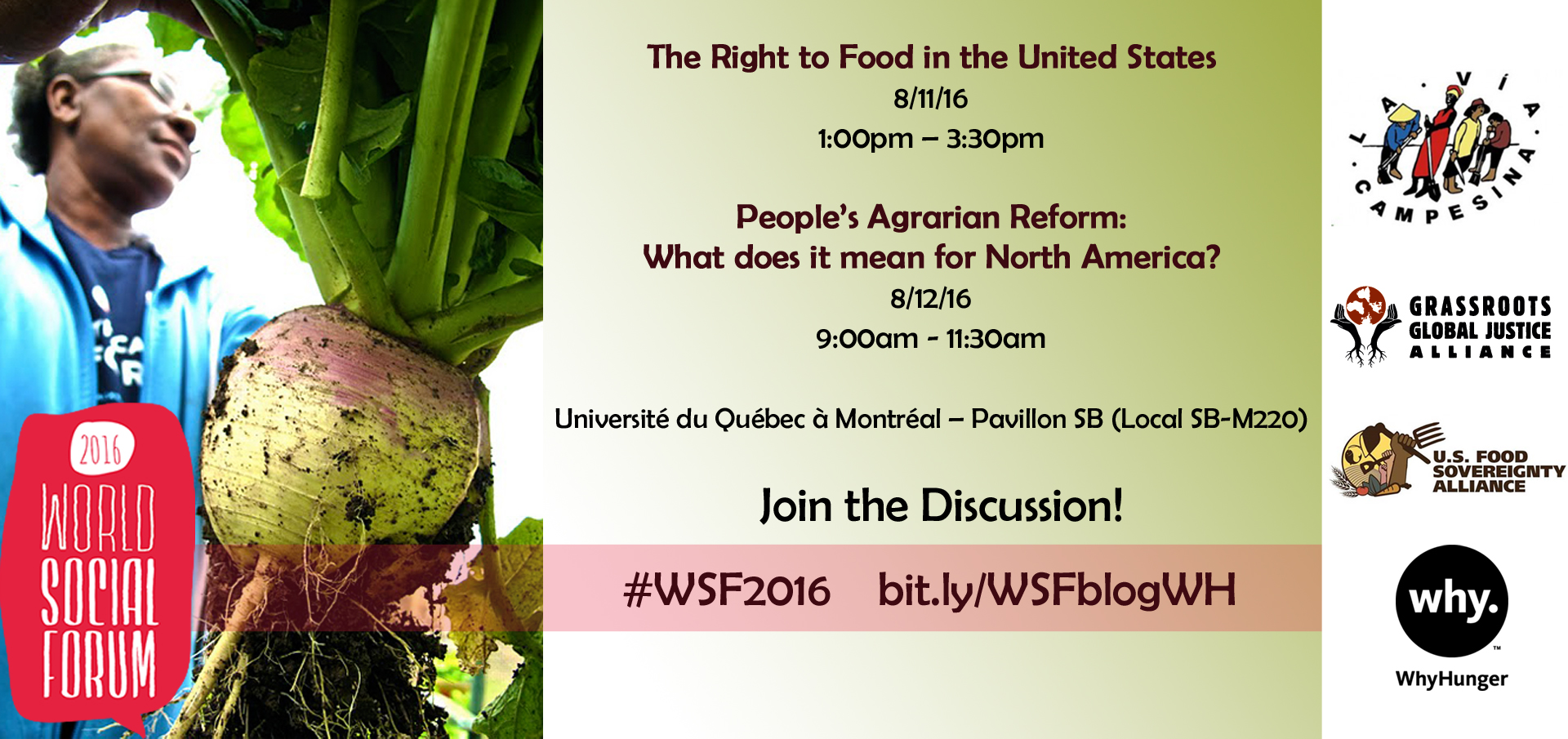 WhyHunger WSF2016 Roundtables Invite